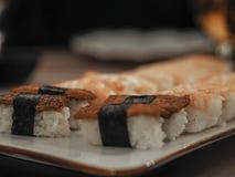 Traditional japanese tofu sushi stock image