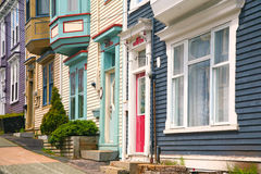 Traditional Homes, St. John's, Newfoundland. Traditional wooden row houses on the hilly streets of St. John's, Newfoundland, Canada Royalty Free Stock Photography