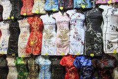 Traditional Hong Kong attire for sale in Temple Street, Hong Kong. Hong Kong - China, 14 January, 2016: Traditional Hong Kong attire for sale in Temple Street Royalty Free Stock Photos