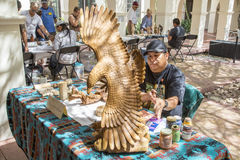 Traditional Hopi Wood Carving Artist Showing Work Stock Photo