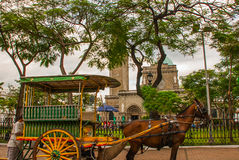 Traditional Horse Carriage, Manila Cathedral, Intramuros, Manila, Philippines. Royalty Free Stock Image