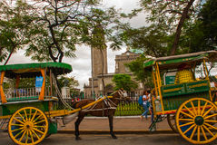 Traditional Horse Carriage, Manila Cathedral, Intramuros, Manila, Philippines. Royalty Free Stock Photo