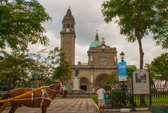 Traditional Horse Carriage, Manila Cathedral, Intramuros, Manila, Philippines. Stock Images