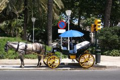 Traditional horse carriage. tourist transport in Seville, Spain, Europe Royalty Free Stock Photography