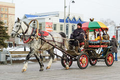 Traditional Horse Carriage, Tyumen. Russia Stock Photo