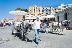 Traditional horse-drawn carriage in Chania Stock Images