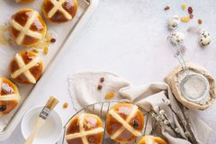 Traditional hot cross buns. Sweet Easter pastry concept stock photography