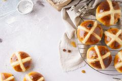 Traditional hot cross buns. Sweet Easter pastry concept royalty free stock images