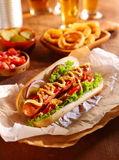 Traditional hot dog with a smoked frankfurter Royalty Free Stock Photography