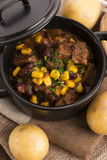 Traditional hot pot stew with meat and vegetables Stock Photography