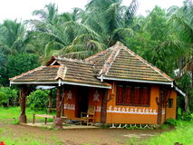 Traditional House. A wooden house / resort cottage with a traditional architectural design, in India Royalty Free Stock Photography