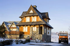 Traditional house. View of the traditional house in Polish moutain in wintertime at frosty morning Stock Images
