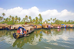 Traditional House boats, Alleppey, Kerala, India. Royalty Free Stock Images