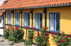 Traditional house in Bornholm. Traditional house decoration, Denmark, Bornholm stock images