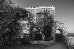 Traditional house at the castle of Monemvasia Peloponnese Greece. Black and white photo stock photos