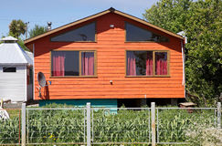 Traditional house in Chiloe, Chile Stock Photo