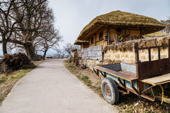 Traditional house with cultivator at winter in Gyeongju Yangdong Village UNESCO World Heritage Royalty Free Stock Photo