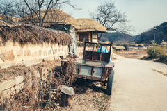 Traditional house with cultivator at winter in Gyeongju Yangdong Village UNESCO World Heritage Stock Photo