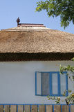 Traditional house from Danube Delta. Detail white blue painted with reed roof royalty free stock image
