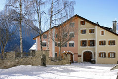 Traditional house in Engadin Stock Photos