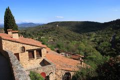Traditional house in french village of Castelnou in Pyrenees Royalty Free Stock Photos