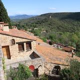 Traditional house in french village of Castelnou in Pyrenees Stock Photos