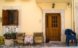 Traditional house front in Chios island, Greece royalty free stock photography