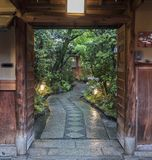 Japanese house and garden stock photography