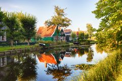 Traditional house at the historic village of Zaanse Schans, Neth royalty free stock photos