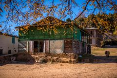 traditional house in indian village in autumn in himalayas stock image