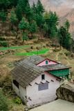 traditional house in indian village in autumn in himalayas royalty free stock photo