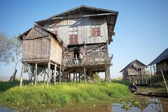Traditional house on the Inle Lake Royalty Free Stock Photo