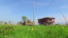 Traditional house of Inle lake stock footage