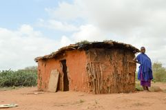 Traditional house of masai Royalty Free Stock Images