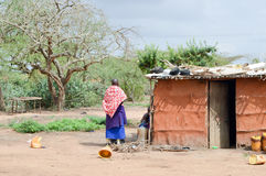 Traditional house of masai Stock Images