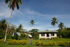 Traditional house of Navala village, Viti Levu, Fiji Stock Photos