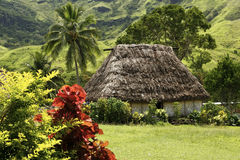 Traditional house of Navala village, Viti Levu, Fiji Royalty Free Stock Photo