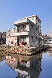 Traditional house reflected in a canal, Wenzhou, Zhejiang Province, China Stock Image