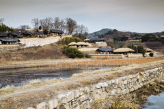 Traditional house with rice fields at winter in Gyeongju Yangdong Village UNESCO World Heritage Royalty Free Stock Photos