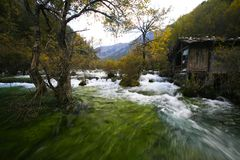 Traditional house by the river. Traditional Tibetan house by the river in Jiuzhaigou Stock Image