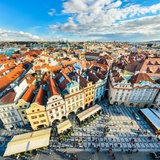 Traditional house roofs in Prague, Czech Republic stock images