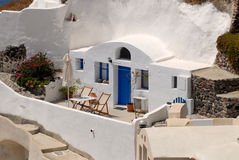 Traditional house in Santorini stock image