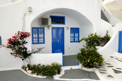 Traditional house in Santorini stock images