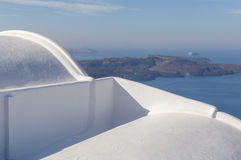 Traditional house on Santorini against caldera Royalty Free Stock Image