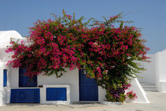 Traditional house in Santorini, Greece. Traditional white house with blue doors and windows in Santorini, Greece Stock Photography