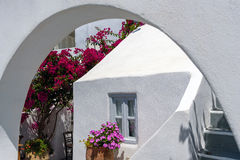 Traditional house of Santorini island with arch in front of it Royalty Free Stock Photography