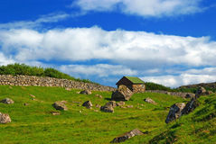 Traditional house with turf roof in Saksun, Faroe Islands Royalty Free Stock Image