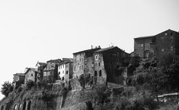 Traditional house in Tuscany in Italy, black and white Royalty Free Stock Photo
