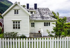 Traditional house in village Olden, Norway. Royalty Free Stock Images