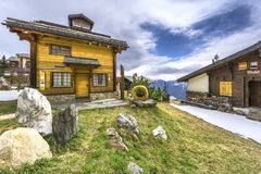 Traditional houses in alpine village of Bettmeralp Stock Images